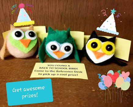 "Pompom Owls with party hats and balloons. Text says, ""Get awesome prizes!"""