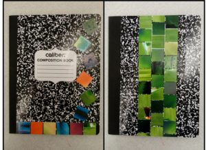 Two samples of notebooks decorated with colorful paper squares.