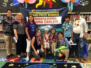 2019 Summer Reading Program Grand Prize Winner Gianna Zarley