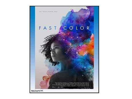 Fast Color film poster image of a woman surrounded by bright purple and orange smoke