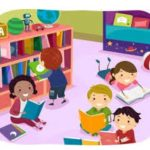 Children in library using books