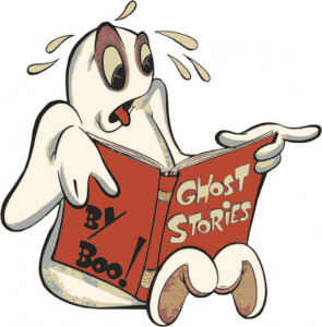 cartoon image of a ghost reading a book
