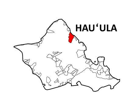 Oahu map with Hauula area highlighted