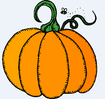 Illustrated Pumpkin with small bumble bee