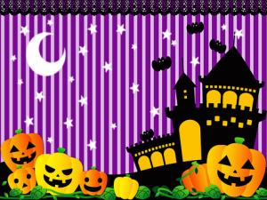 Haunted house and jack-o-lanterns