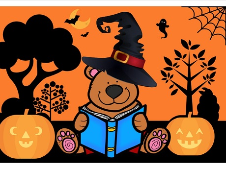 Spooky Story Time Bear in Witch Hat for Halloween