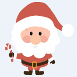 Santa Claus holding a candy cane