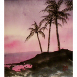 sumi-e style painting of palm trees by Hisae Shouse