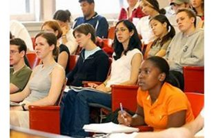 Students in college lecture hall