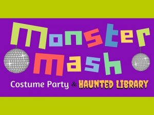 Monster Mash Costume Party and Haunted Library Colored Letters against Purple Background and Green Border