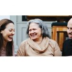 photo of 3 people talking for alzheimers association program