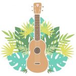 Ukulele with tropical leaves in background