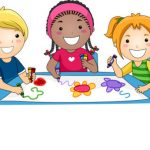line art drawing of three children coloring at a table