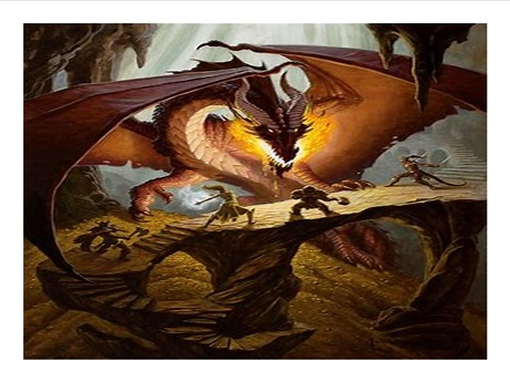 youth battling dragon in a cave