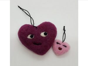 Heart shaped crafts made out of wool