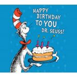 Cat in the hat carrying a birthday cake