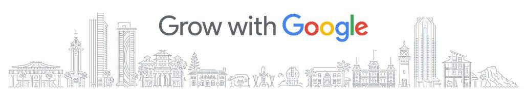 Grow with Google logo with Hawaii landmarks