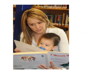 Woman reading to a toddler