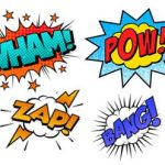 """Comic book style word collage of """"Wham! Pow! Zap! Bang!"""""""