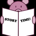 Cartoon bear holding book