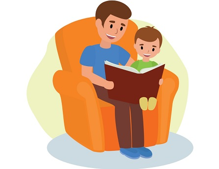 cartoon dad and son sitting in chair reading