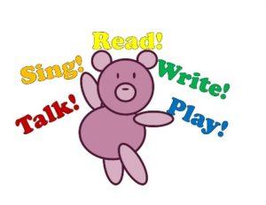 cartoon bear with words