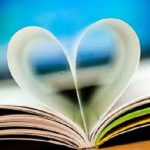 Book pages folded in the shape of a heart