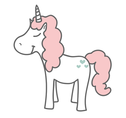White unicorn with fluffy pink mane.