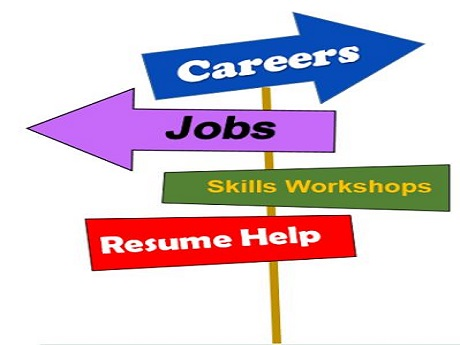 Cross Roads sign with Careers, Jobs, Skills Workshops and Resume Help
