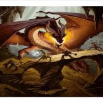Teens battling dragon on ledge of a cave
