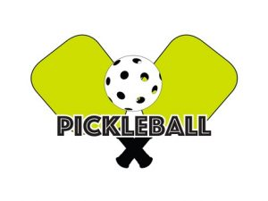 two pickleball paddles and a ball with caption pickleball