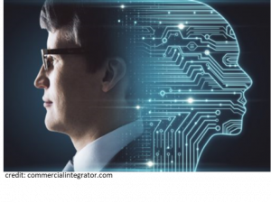 human head morphing into computer circuitry