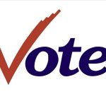 "Color graphic of the word ""vote"" with letter ""v"" stylized as a red check mark"