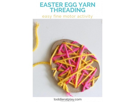 egg shape with yarn threaded around
