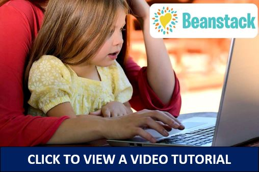 Beanstack logo with young girl on a computer