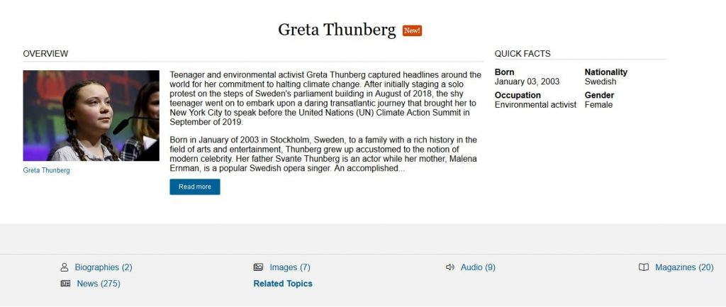 Biography in Context information on Greta Thunberg