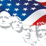 Abscract of Mount Rushmore with U.S. flag in background