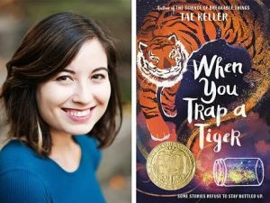 Author Tae Keller with book cover, When You Trap a Tiger