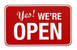 Yes! We're Open sign