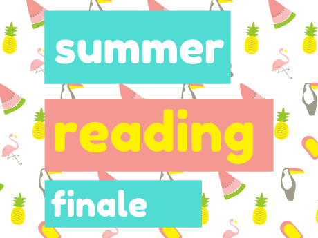"""Picture with text that reads: """"summer reading finale""""over a background of watermelon slices, toucans, pineapples, and popsicles"""