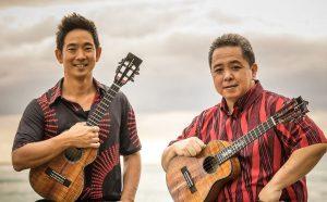 Ukulele musicians Jake Shimabukuro and Herb Ohta Jr