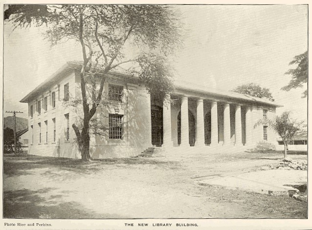 Historical photo of Hawaii State Library building in black and white