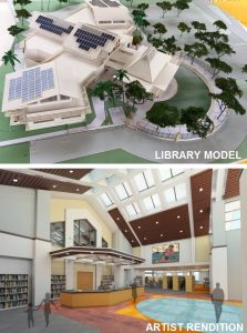Library model and artist rendition of new branch
