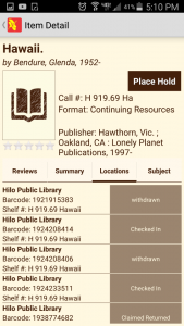 Screenshot of book search results