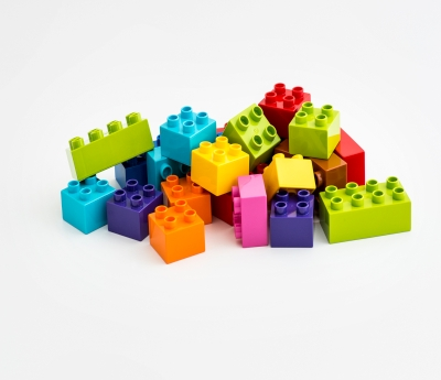 A pile of colored LEGO bricks
