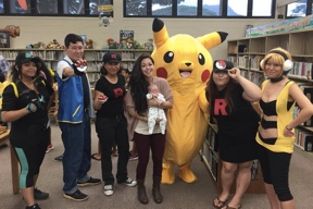 Group of people dressed in Pokemon costumes