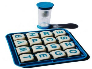 Boggle tray and timer.