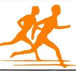 2 right-facing orange human silhouettes running