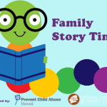 Bookworm story time logo with sponsorship by PACT and Prevent Child Abuse Hawaii