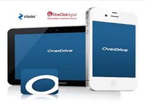 OverDrive, Zinio, OneClickdigital logos